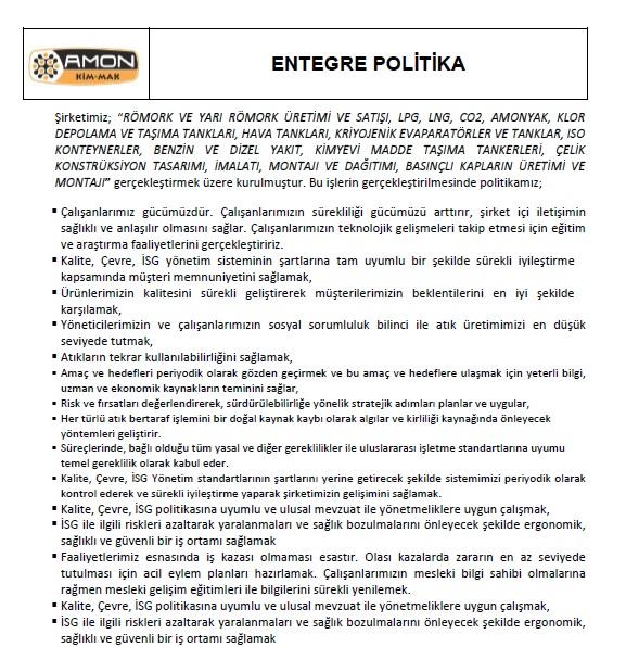 ENTEGRE POLİTİKA
