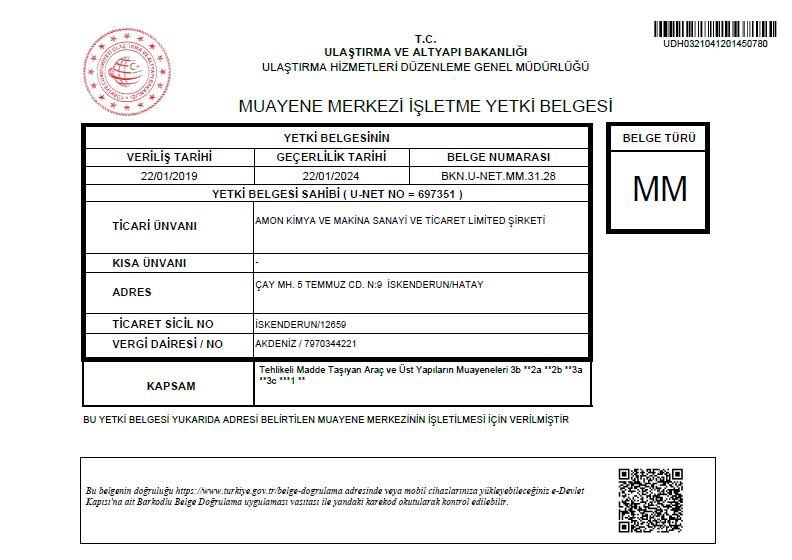 MMFB- MUAYENE MERKEZİ FAALİYET BELGESİ