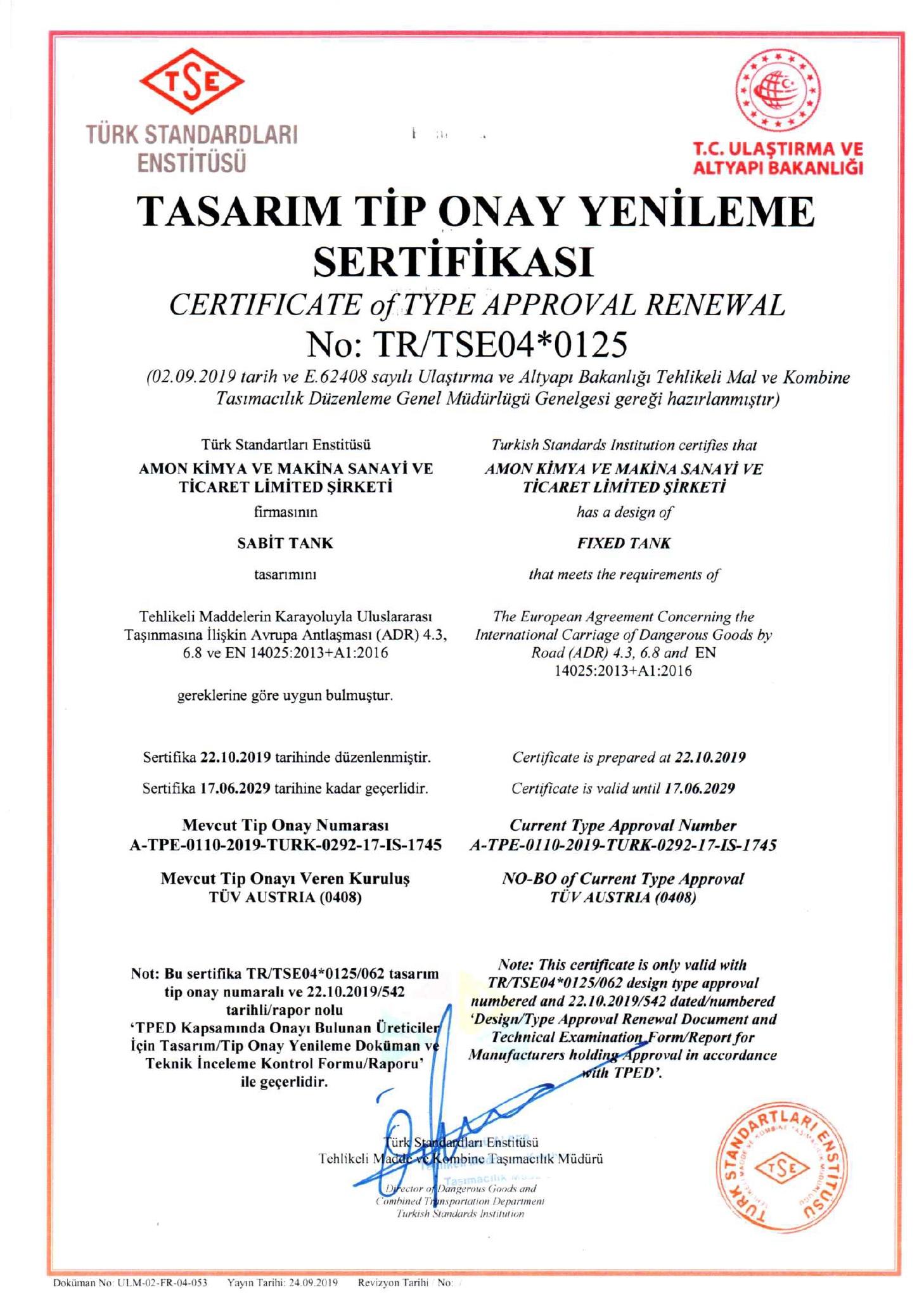 TASARI TİP ONAY YENİLEME SERTİFİKASI - TSE